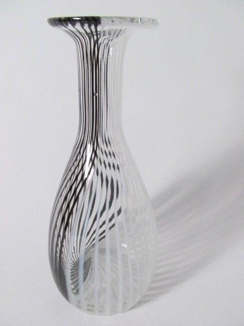 Murano Med Century Modern Tessuto Black White Pin Striped Venini
