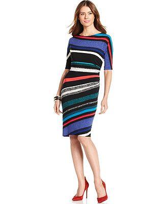 Evan Picone Short-Sleeve Striped Dress