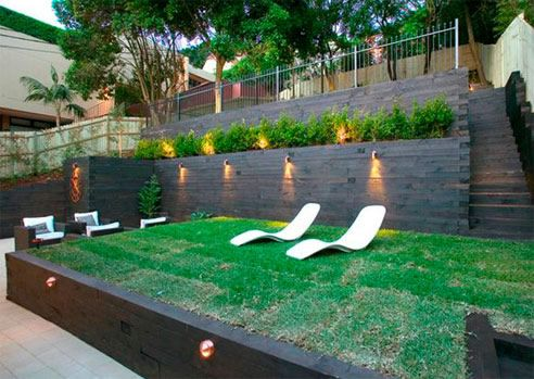 backyard kids play area ideas | The steep gradient of this ...