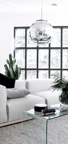 Minimalistisches Wohnzimmer In Schwarz Weiß.