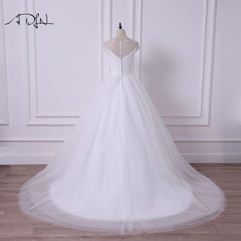 ADLN 2017 New Cap Sleeve Princess Puffy Wedding Dress Robe de Mariee ...