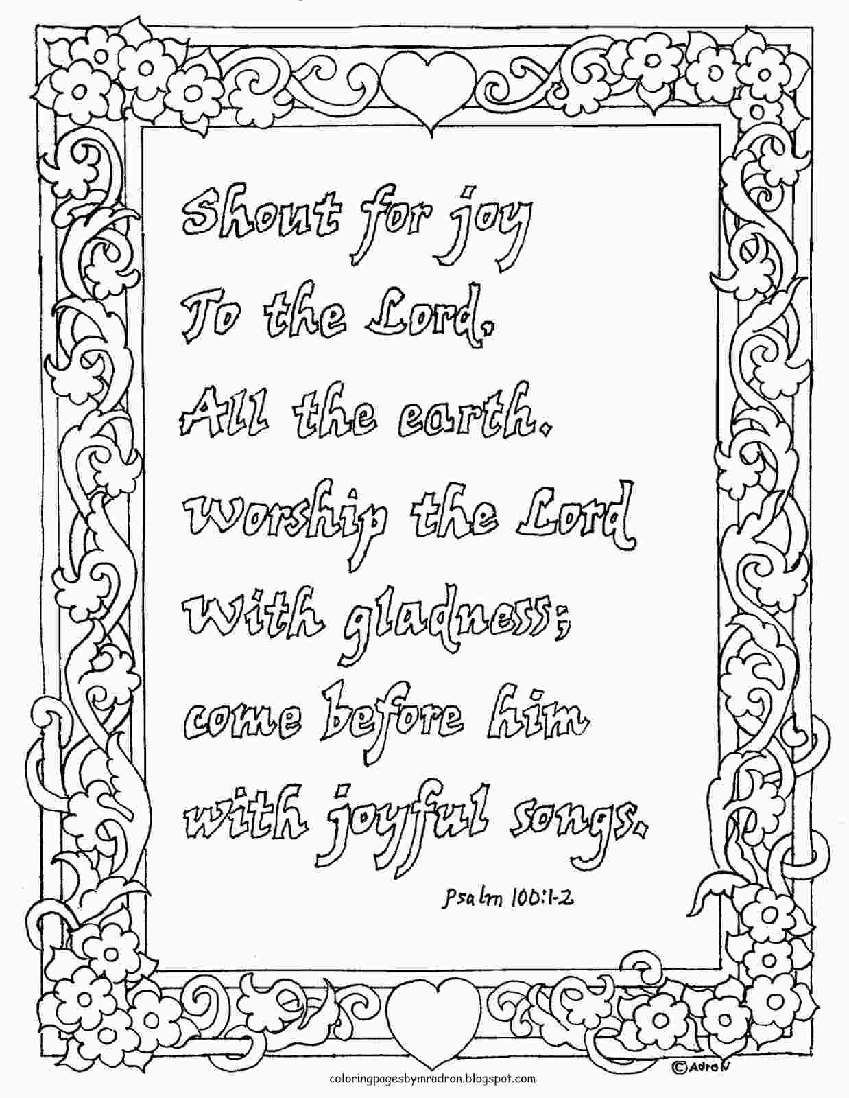 Printable Psalm 100 Coloring Page Coloring Pages For Kids Bible