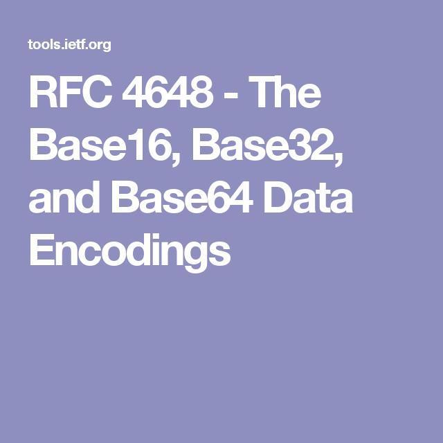 RFC 4648 - The Base16, Base32, and Base64 Data Encodings