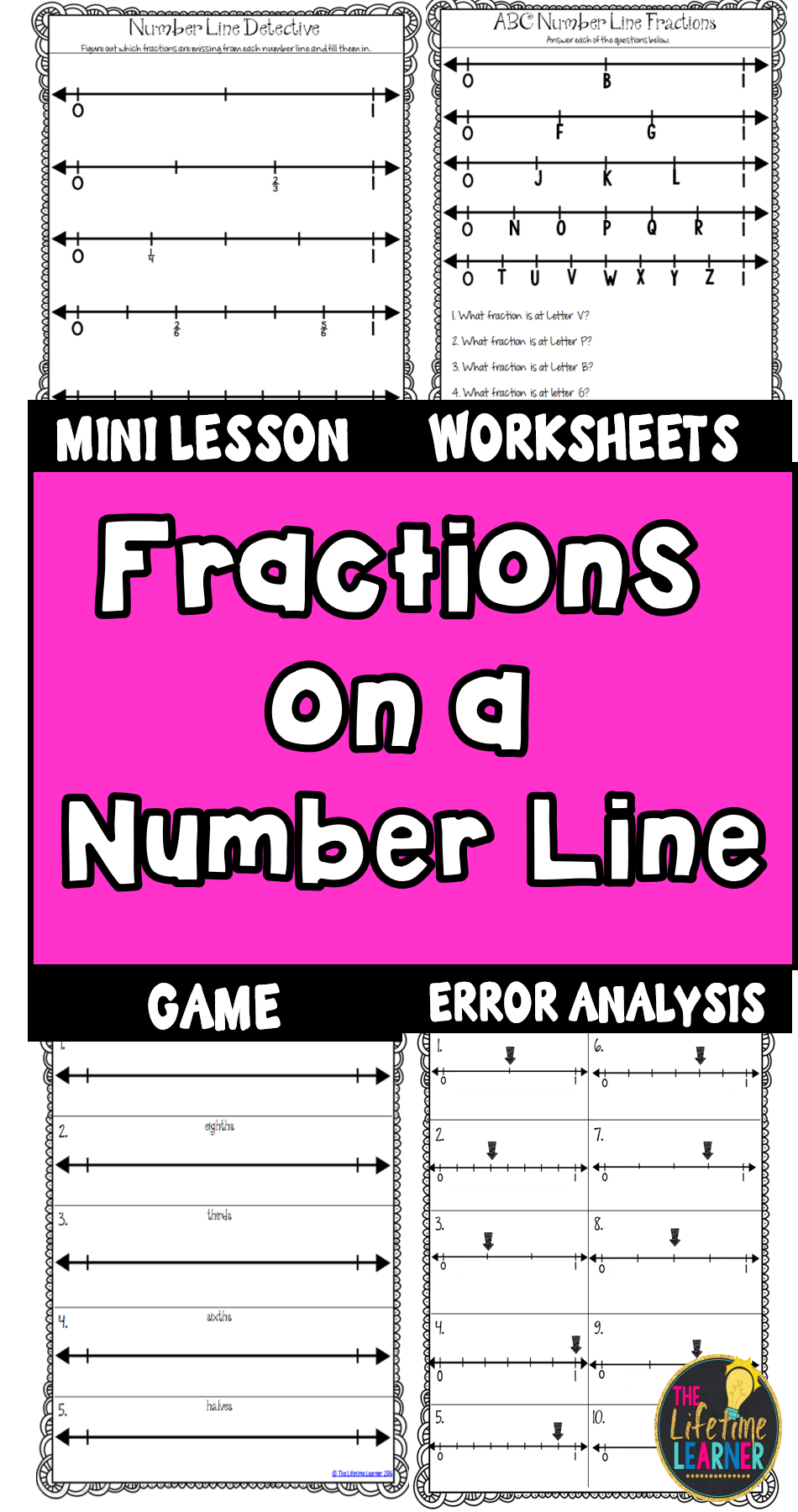 Fractions on a Number Line Worksheets   Fractions [ 1800 x 950 Pixel ]