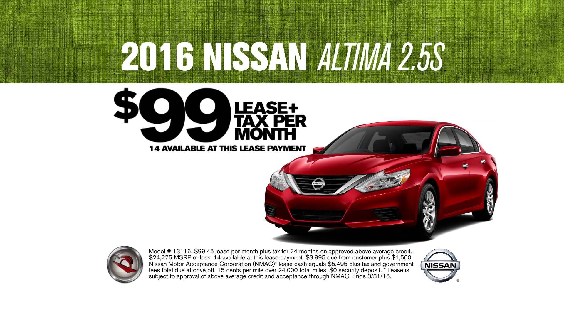 WHO'S GOING TO OPENING DAY? Wouldn't it be great to take the family in a new 2016 Nissan Altima for ONLY $99 LEASE PER MONTH!