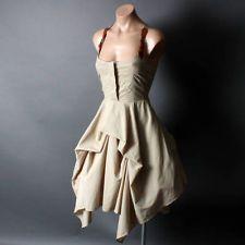 Steampunk Victorian Western Desert Safari Suspender Tan Belt Bustle Dress sz SML