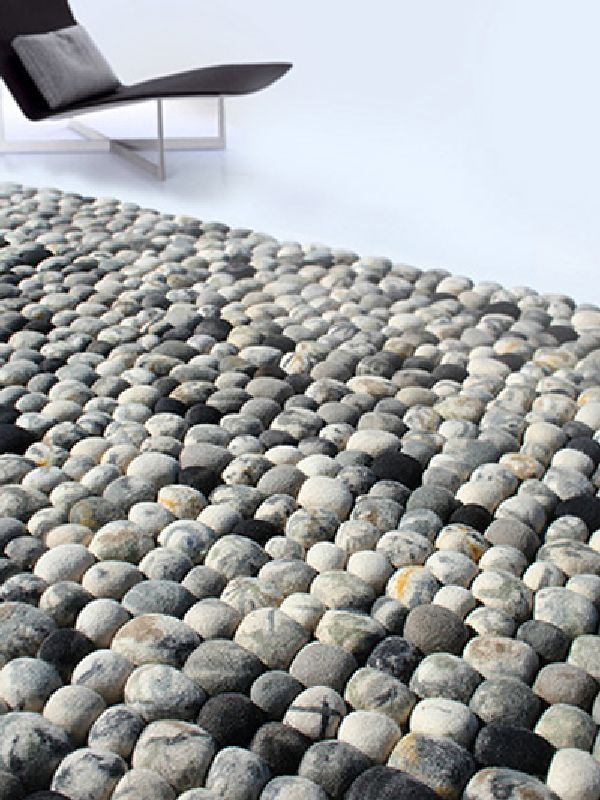 Modern Faux Pebble Rug Made Of Wool Design For Living Room