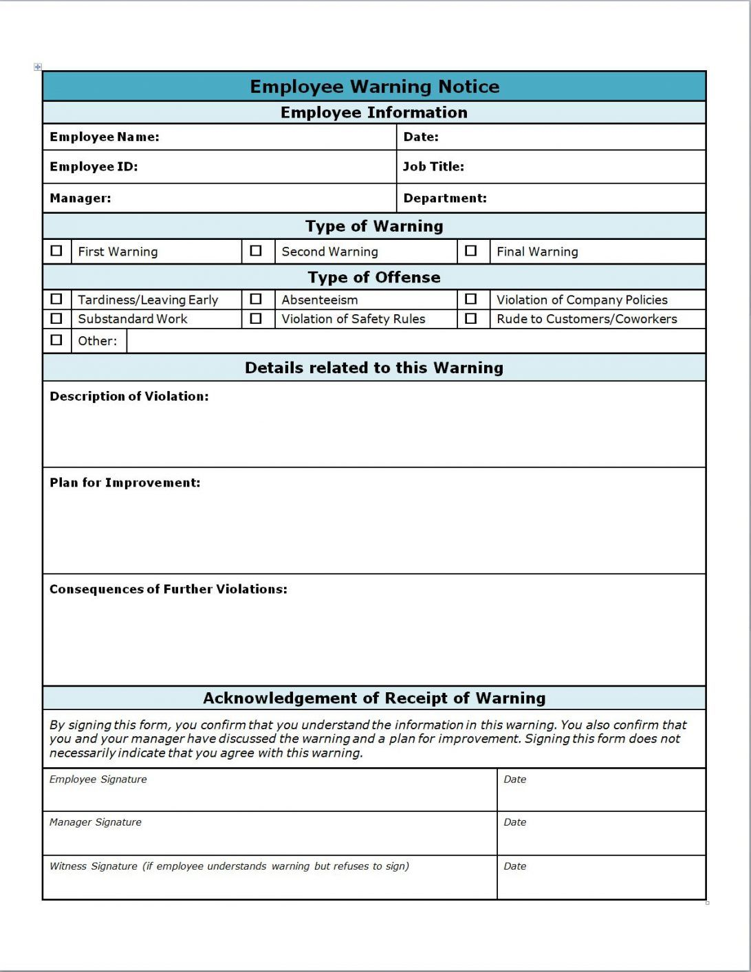 Employee Write Up Forms Pdf Form Free Download Template Word Within Employee Satisfaction S Employee Satisfaction Survey Employee Handbook Spreadsheet Template