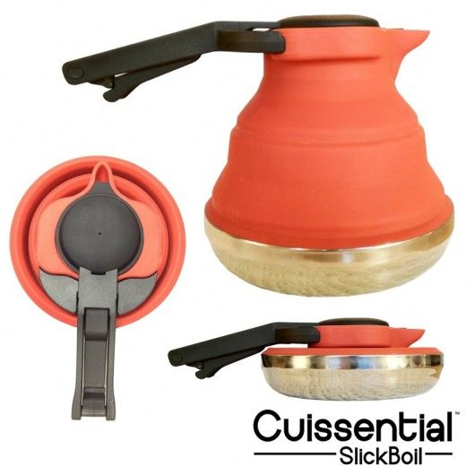 Cuissential brews up a collapsible silicone tea kettle, the four-cup SlickBoil.  It has a stainless steel base which is ok on a naked flame.