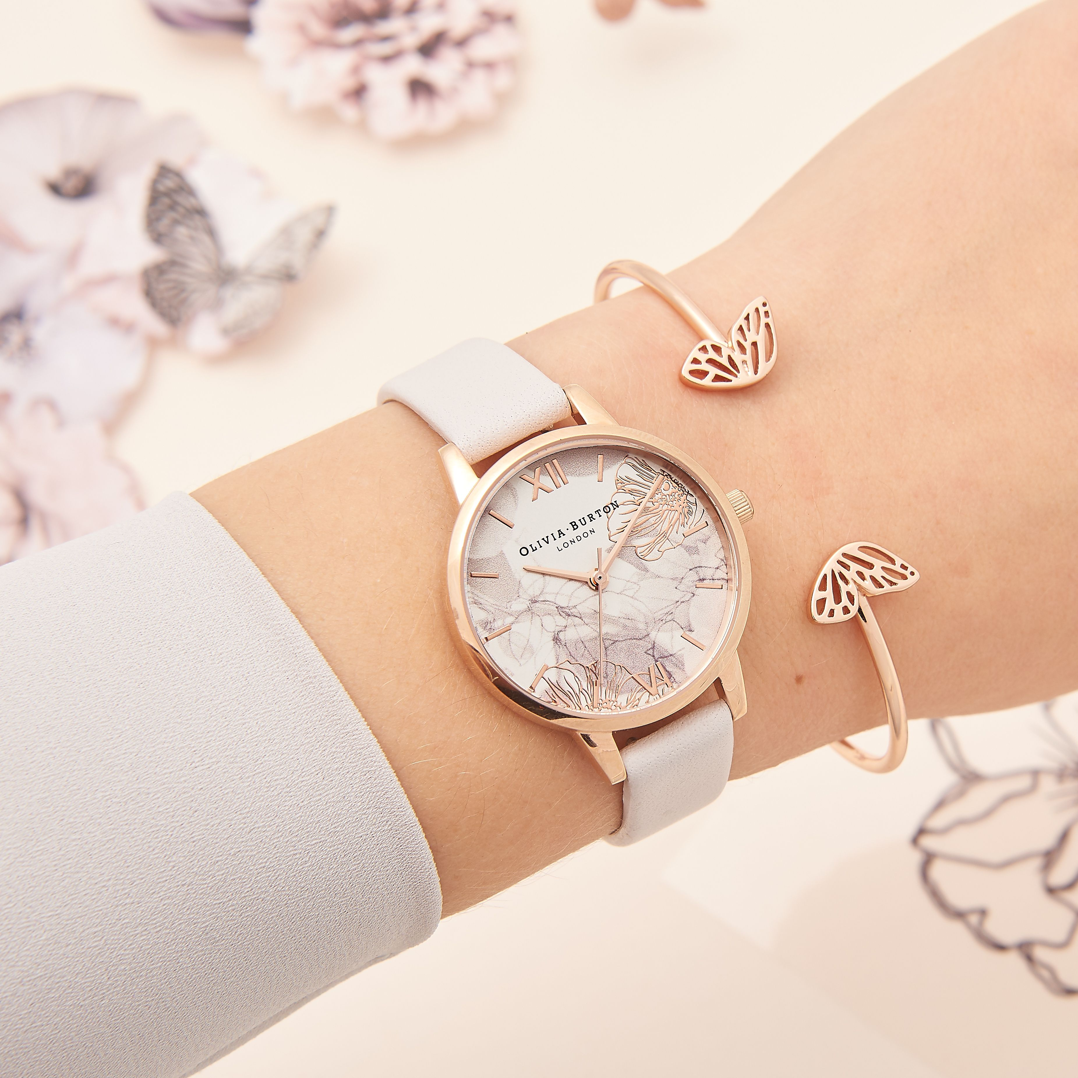 527b27e766 Abstract Floral Blush & Rose Gold and our Butterfly Wing Bangle <3  Burton