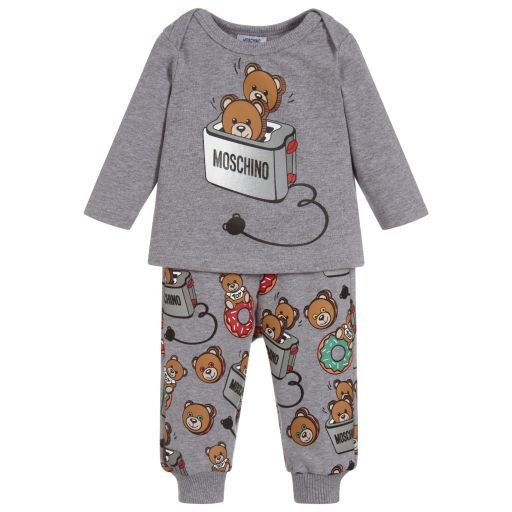 bd0027afca7d Moschino Baby - Grey Cotton Baby Trousers Set