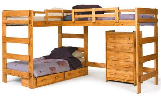 woodcrest heartland l shape twin loft bed with extra loft helpful for planning l shaped loft for 2 twins not doing the bunk underneath - L Shaped Loft Bunk Bed Plans