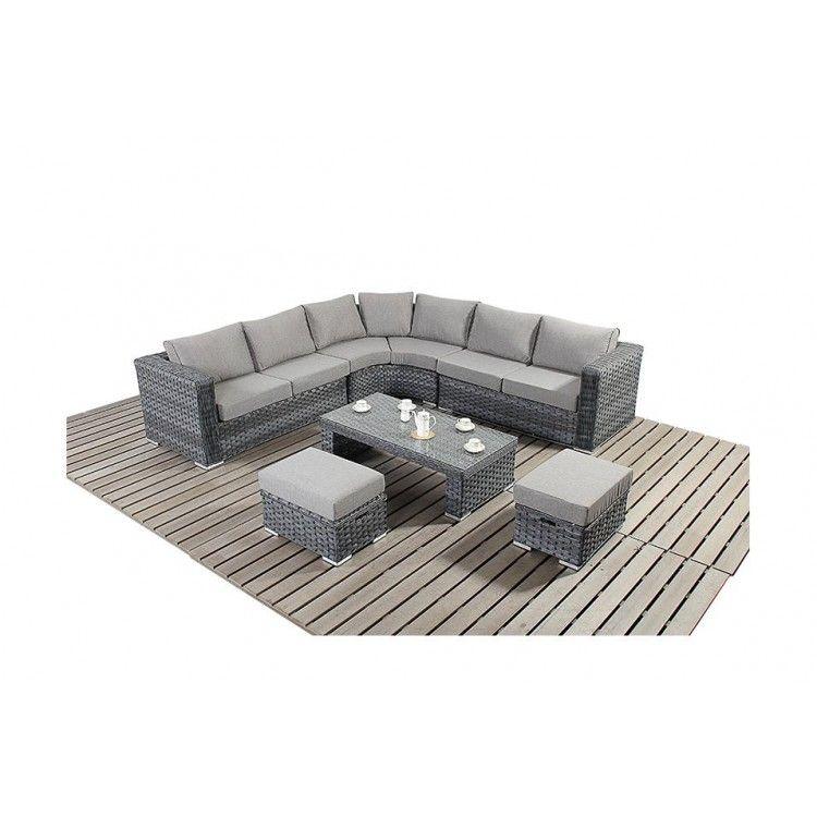 Port Royal Platinum Garden Furniture Grey Round Corner Sofa Set