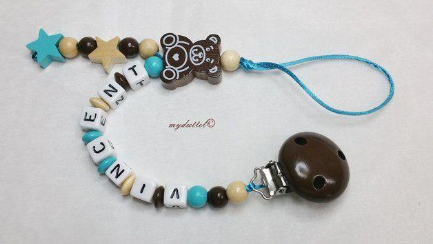 Schnullerkette Wunschname Teddy Sterne Baby md241 von myduttel auf DaWanda.com