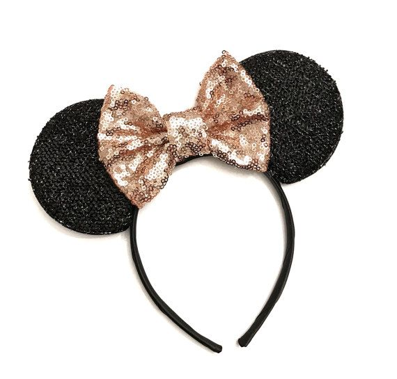 12 Minnie and Mickey Mouse Headband Ears Light Pink Bows Sparkle Shimmer Sequin