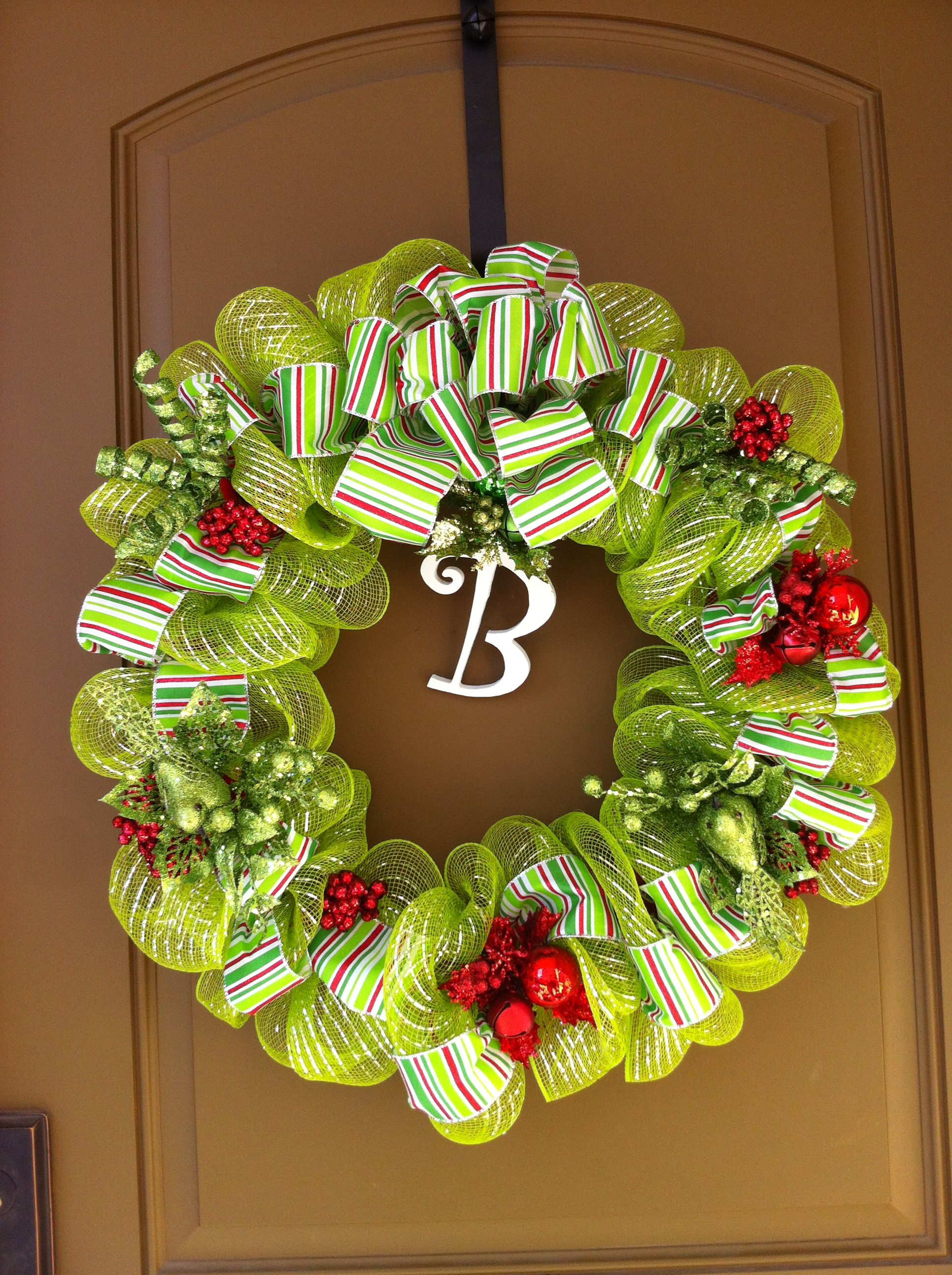 festive green mesh christmas wreaths for sale custom and all handmade just for your l. Black Bedroom Furniture Sets. Home Design Ideas