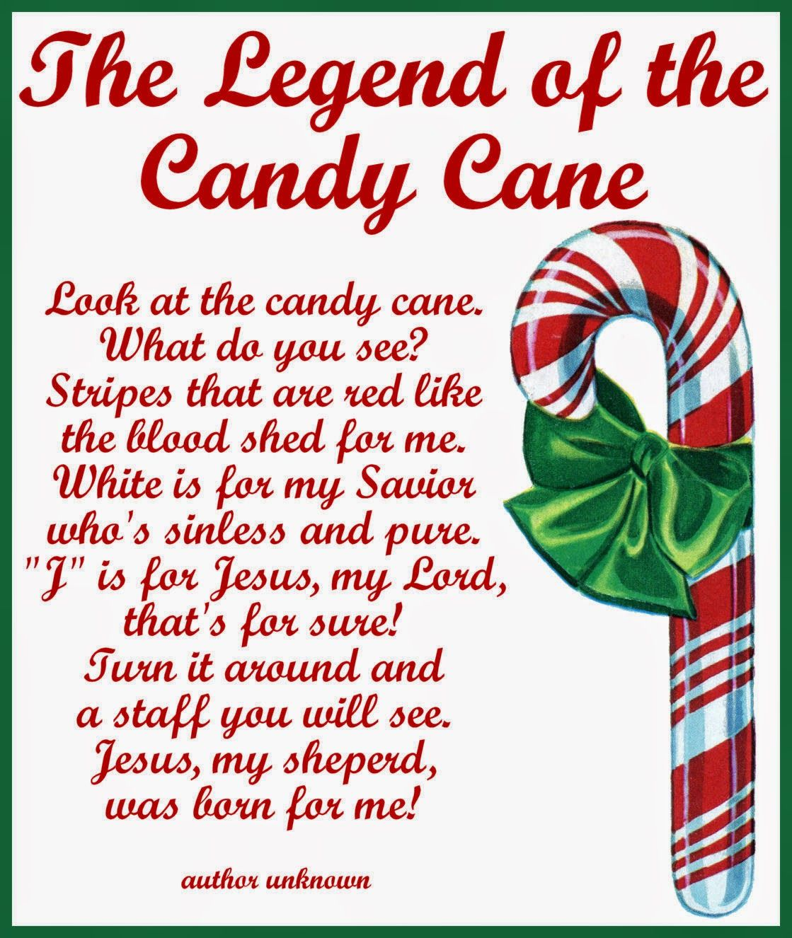 Candy Cane Legend Card Printable