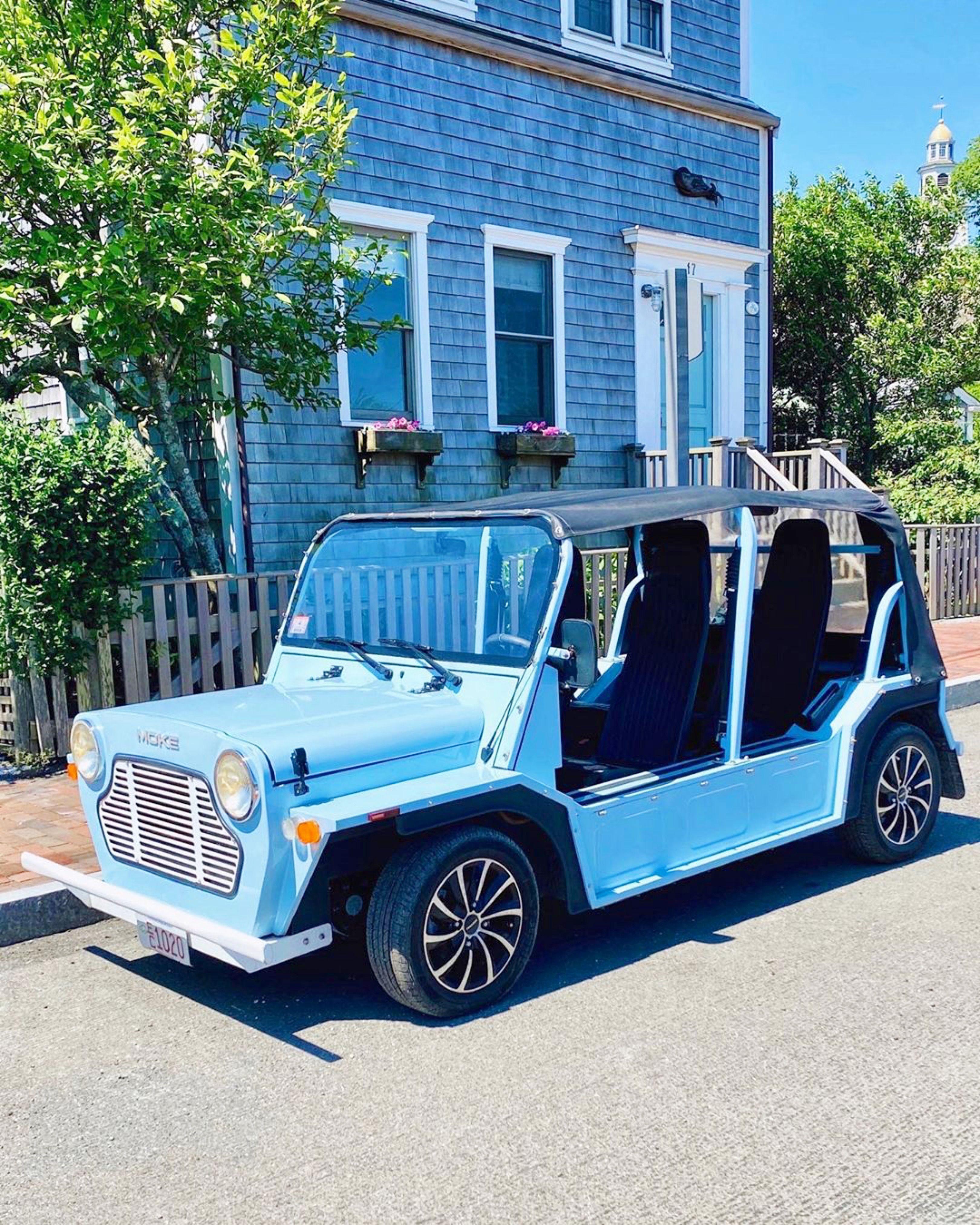 Moking around #Nantucket 🚙💨   #MokeAmerica #ElectricCar #IslandVibes #Moke #MiniMoke