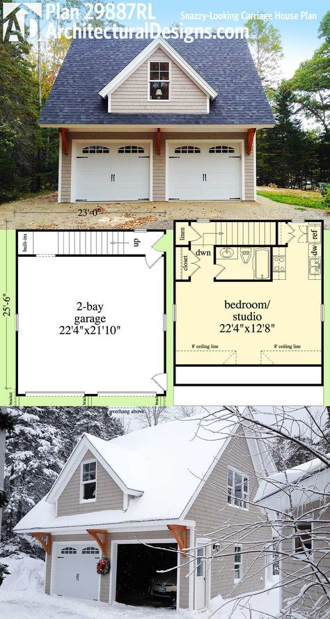 Architectural designs carriage house plan 29887rl can be used as a garage vacation home in law apartment man cave playhouse or home office