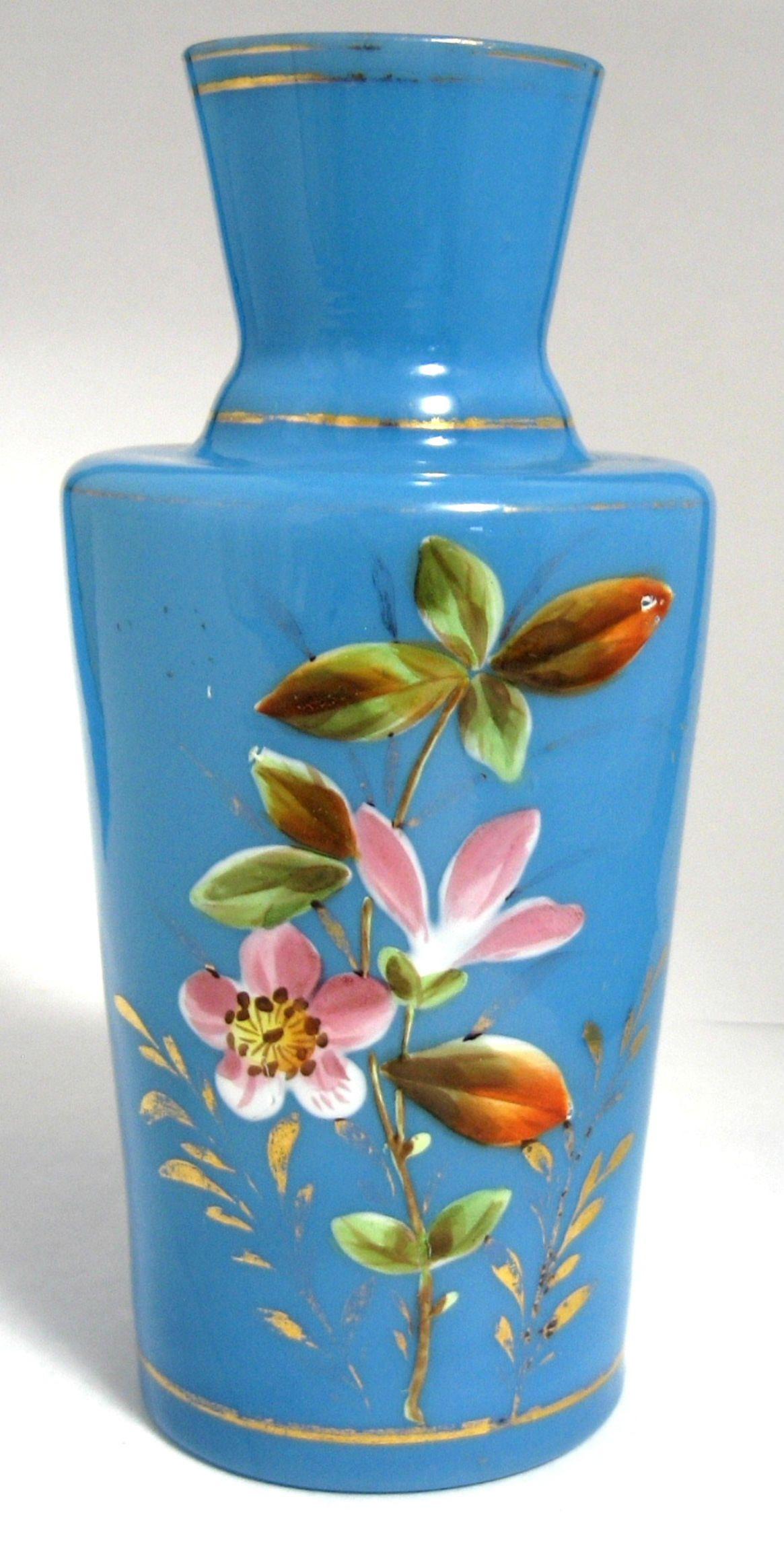 Victorian vase blue bristol glass victorian hand painted english victorian vase blue bristol glass victorian hand painted english 1880 1890s victorian home decor by reviewsmspy