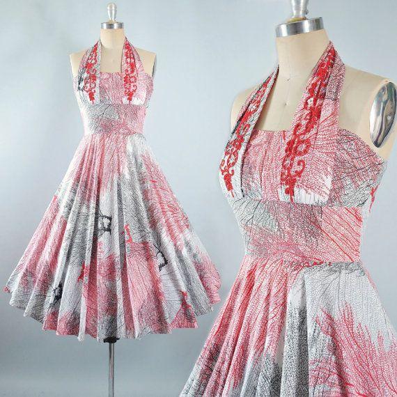 Vintage 50s Novelty Print Dress / 1950s HALTER by GeronimoVintage