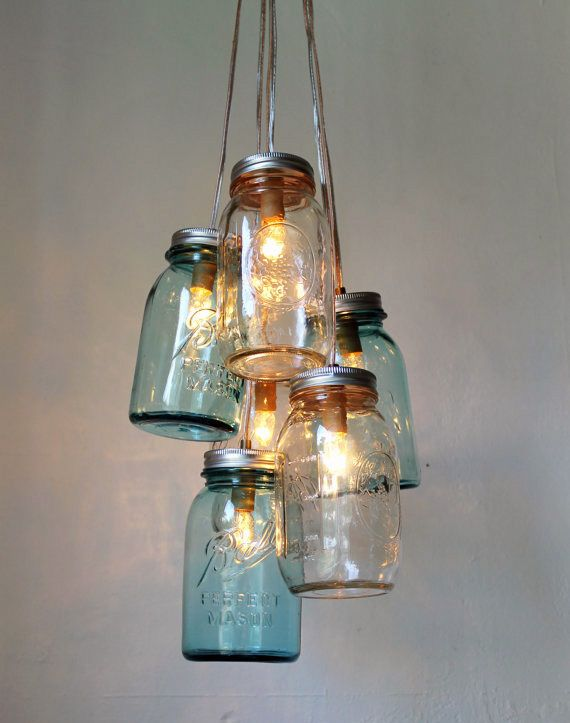 Items similar to Mason Jar Chandelier - Mason Jar Lighting - Amber Sunset  Clear and Tangerine - Handcrafted UpCycled BootsNGus Hanging Pendant Light  Fixture ...