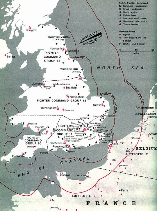 Map Of England During Ww2.How England Was Divided Into Areas For The Different Raf Groups To