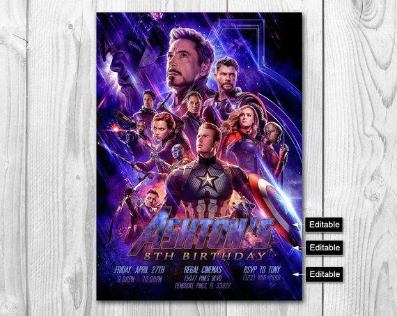Avengers Endgame Invitation Invite Invitat
