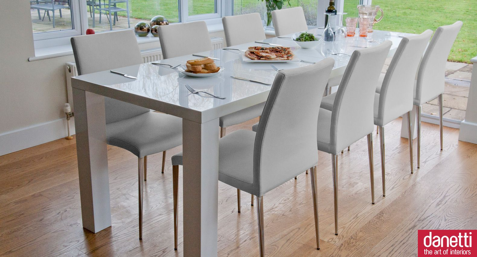 High Gloss White Texture Dining Table