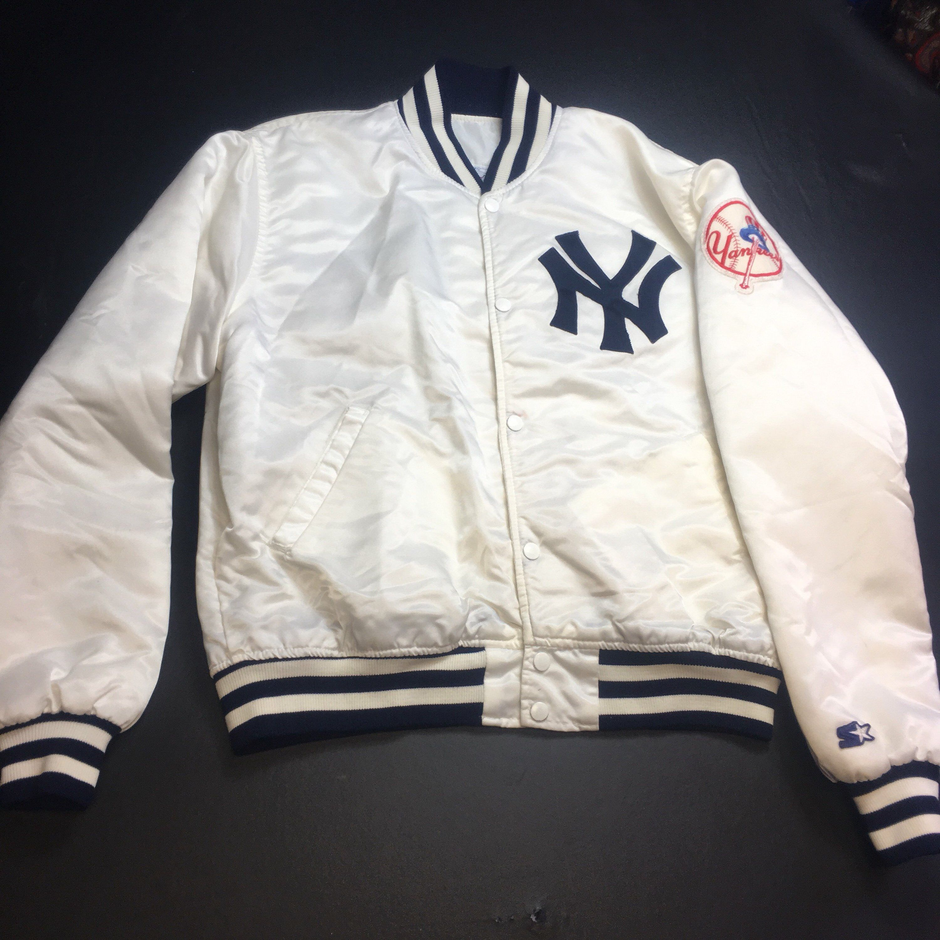 Excited To Share This Item From My Etsy Shop Rare Vintage Mens Large White New York Yankees Satin Starter Bomber Jacket New York Yankees Jackets Retro Jacket