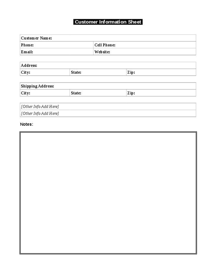 Use this simple customer information template to keep a record of – Customer Information Sheet Template