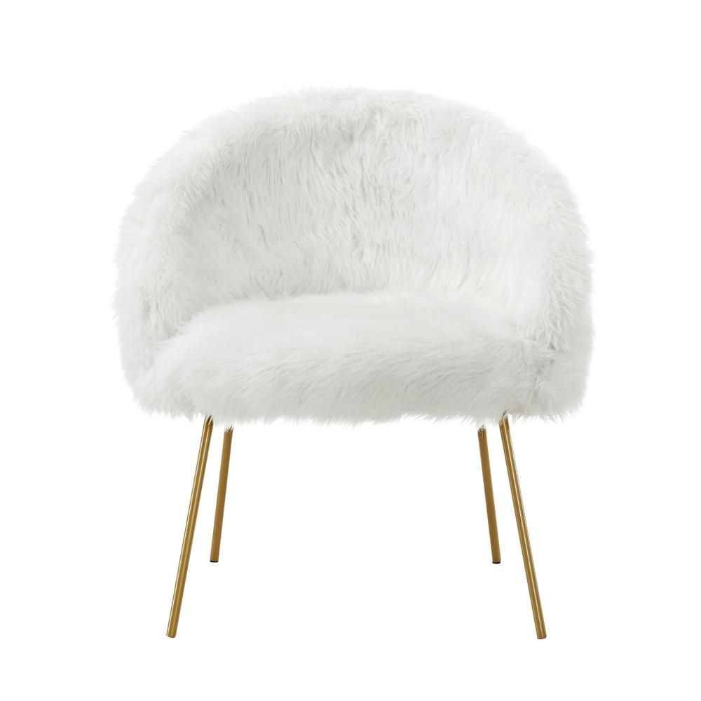 White Accent Chairs Used.Inspired Home White Ana Luxe Fur With White Powder Coated Metal Leg