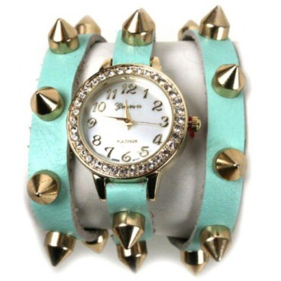 2 for $20 Fashion watch Fashion watch watch with studs. Rhinestones around the face or the watch with genuine leather that wraps around the wrist. Three metal clasp for sizing. Has stainless steel backing. Accessories Watches