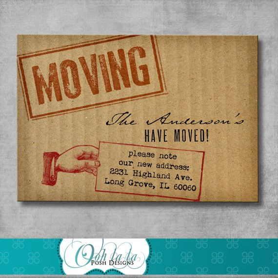 Moving Announcement \/ Change of Address Cards - Cardboard - DIY - free change address