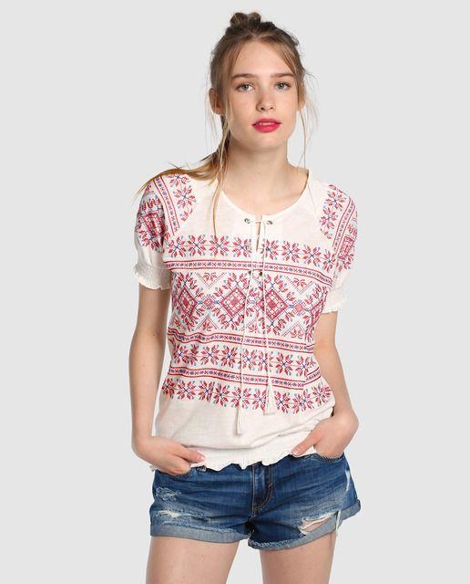 Camiseta de mujer Tintoretto con bordado y elástico