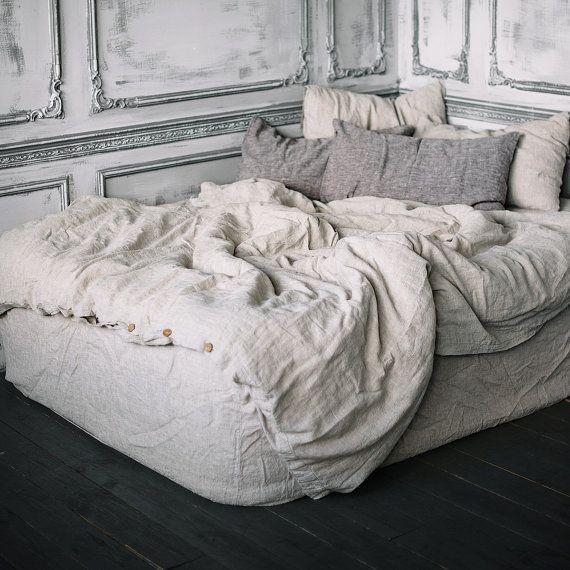 Bettwäsche Bettbezug Natürliche Grau Königin König Twin Doppel Nahtlose  Doona Leinen Bettwäsche Tröster Deckung Stonewashed Vorgewaschen
