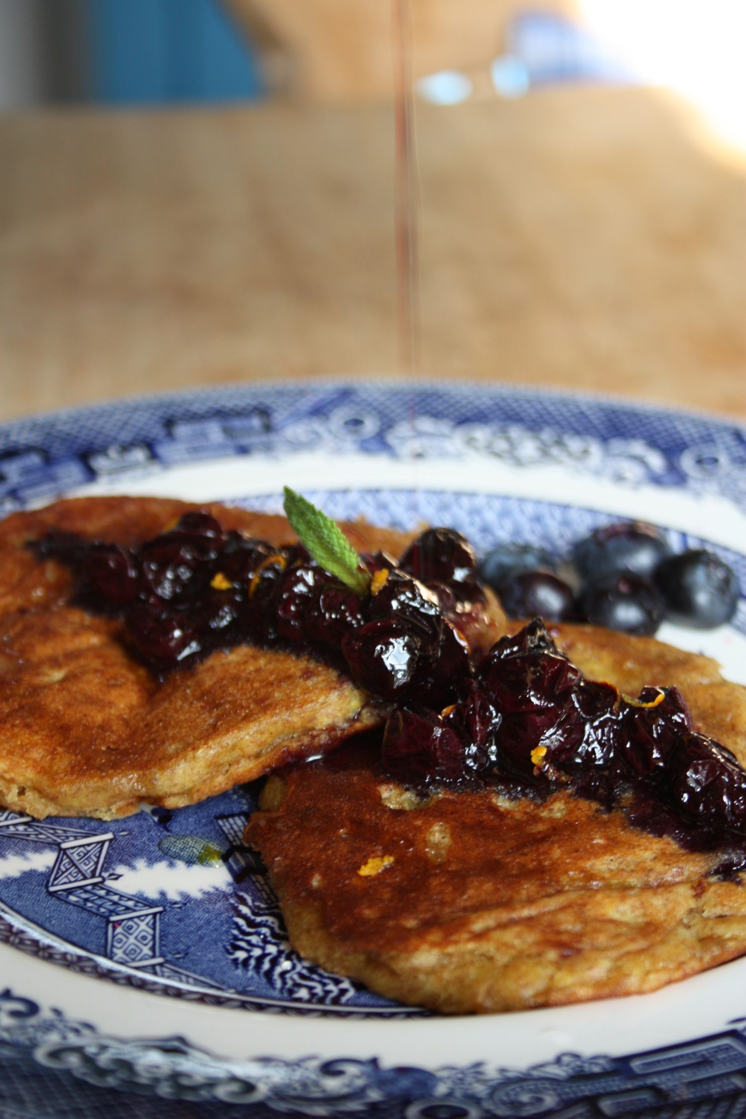 Buckwheat pamcakes with blueberry compote