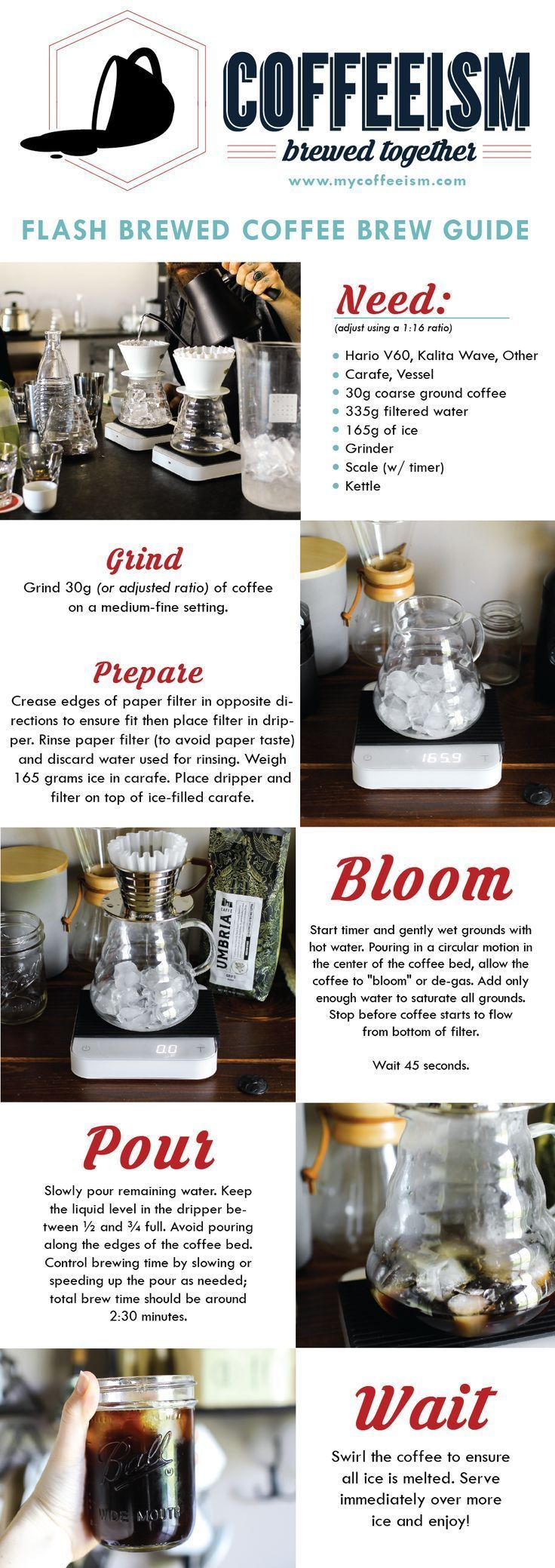 Flash Brewed Iced Coffee Pour Over Coffee Brew Guide Mycoffeeism Com Thecoffeeespressomachine Resep Kopi Pecinta Kopi Kopi