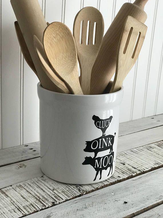 white farmhouse utensil holder home decor farmhouse decor rustic home decor home on farmhouse kitchen utensils id=64022