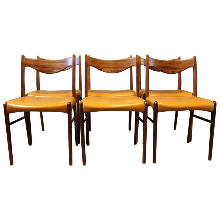 Set Of Six Dining Chairs In Rosewood And Upholstered Yellow Leather