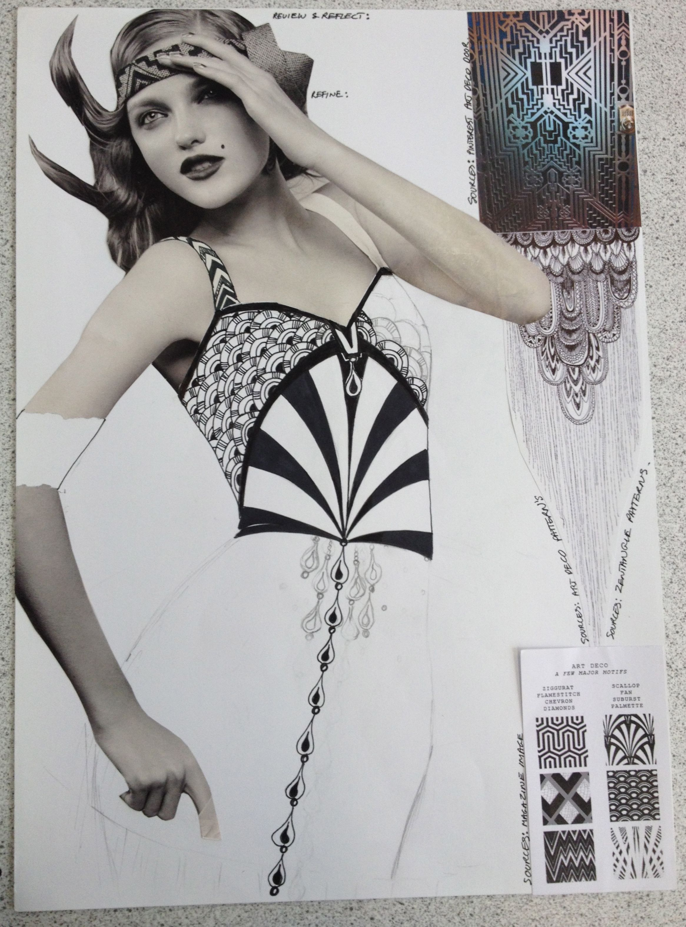 Generating original print designs. Art Deco and The Great Gatsby. Design lessons current Textile design course. By Wendy Nicolic. Pencil and fine liner on paper.