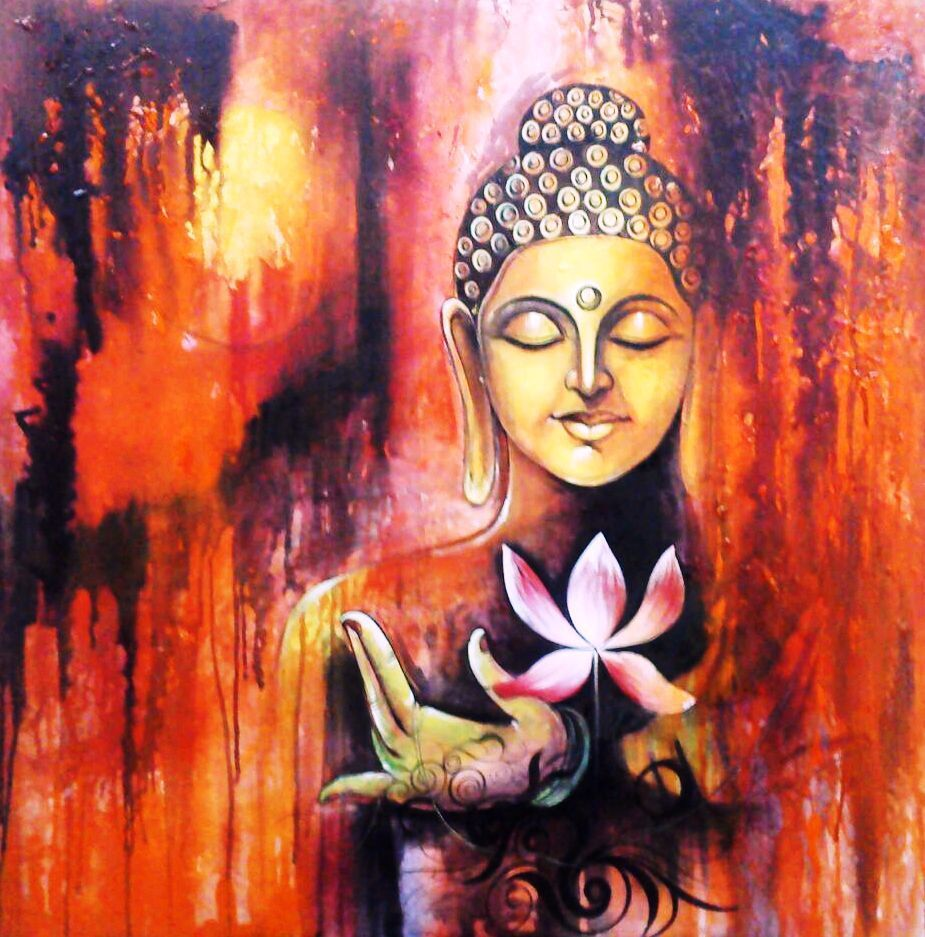 Lotus buddha 30in x 30in art pijn77 3030 acrylic colors for Buddha mural paintings