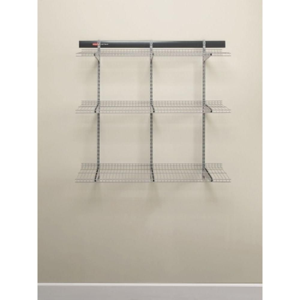 Rubbermaid Fasttrack Garage 48 In X 16 In Wire Shelf Fg5e2102snckl The Home Depot In 2020 Wire Shelving Rubbermaid Shelving