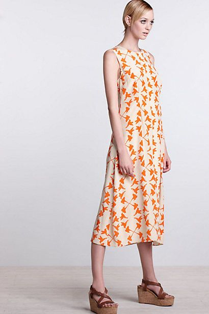 37501d32cad Anthropologie Hummingbird Silk Midi Dress Size 8