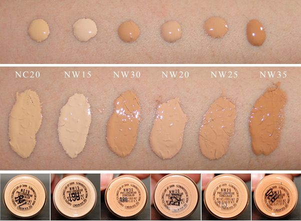 MAC Pro Longwear Concealer Swatches | Light to medium skintones: NC20, NW15, NW30, NW20, NW25, & NW35