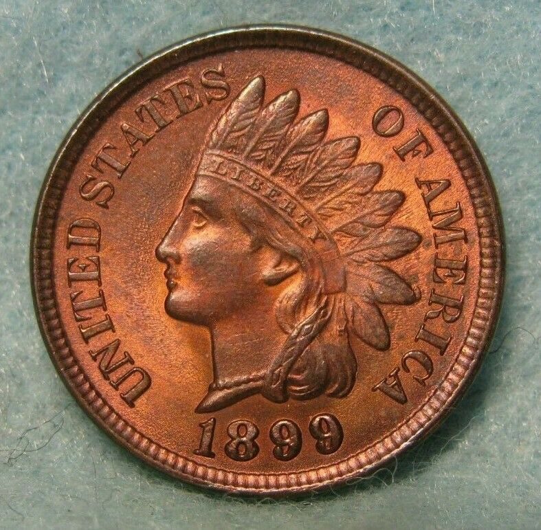 1899 Indian Head Cent Penny AU-About Uncirculated