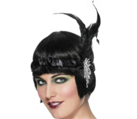 Black Satin Charleston Headband  Dancing girls always have more fun right? The Black Satin Charleston headband will leave no doubt that there's a touch of class to your hen night, with it's jeweled sidepiece and tall black feathers. £2.45