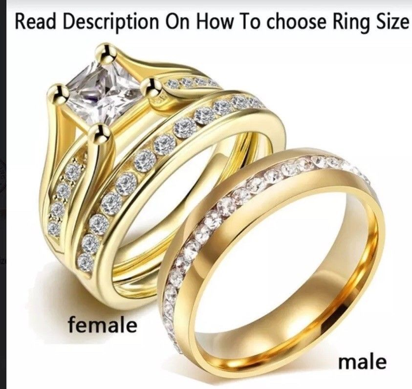 Couple Ring 10k Gold Filled Wedding Ring Set Ebay Womens Wedding Ring Sets Wedding Ring Sets Steel Wedding Bands