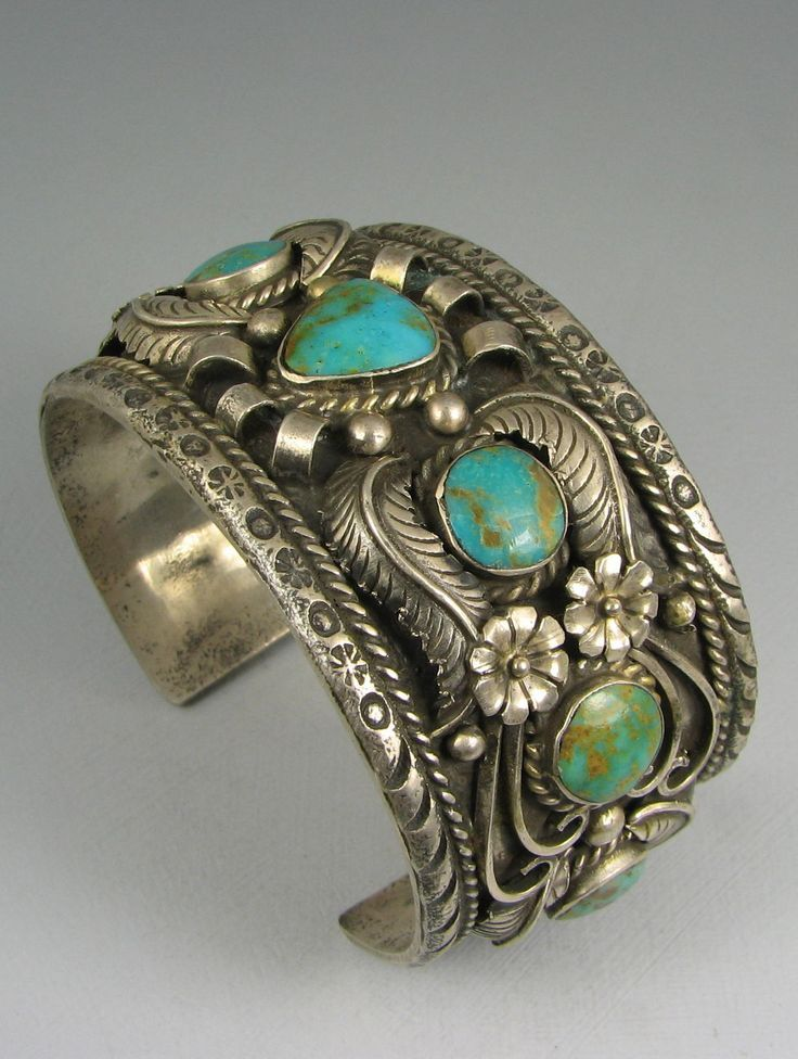 "Navajo Vintage Cuff | Signed ""RC"" (Rose Castillo Draper ?). Silver and turquoise.:"