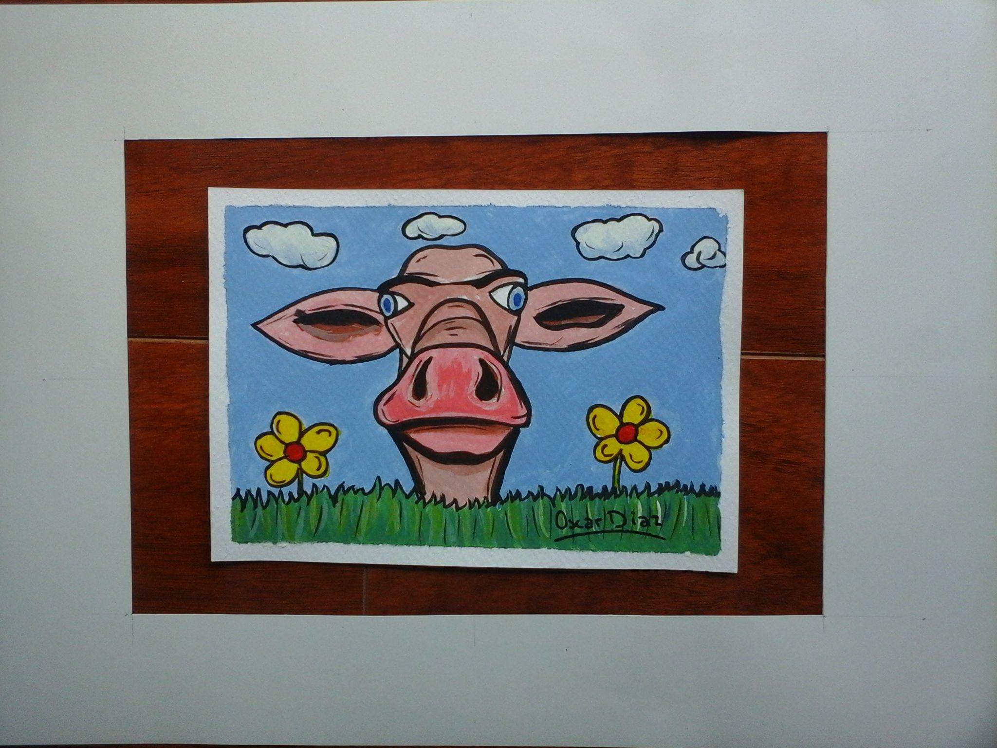 caricatura acrilico acuarela cow vaca